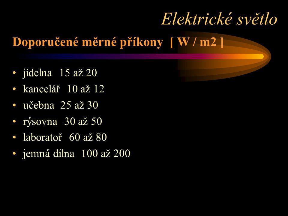 Elektrické světlo Doporučené měrné příkony [ W / m2 ] jídelna 15 až 20
